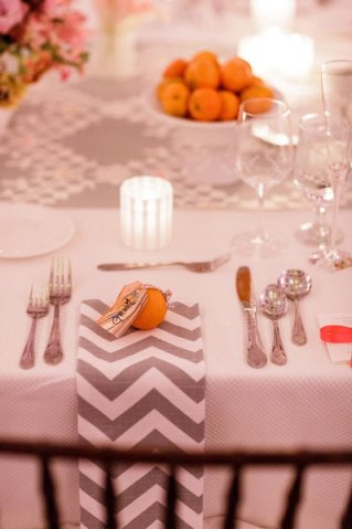 SMP - chevron napkin with cuite place card