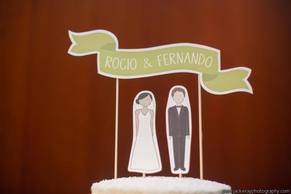 Rocio + Fernando's Paper Doll Cake Topper